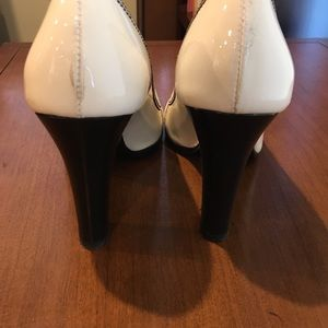 Fendi Shoes - Fendi black and white peep toe pumps